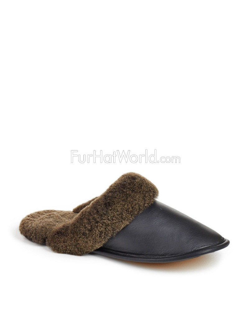Men's Shearling Sheepskin Slip-On Slipper in Black