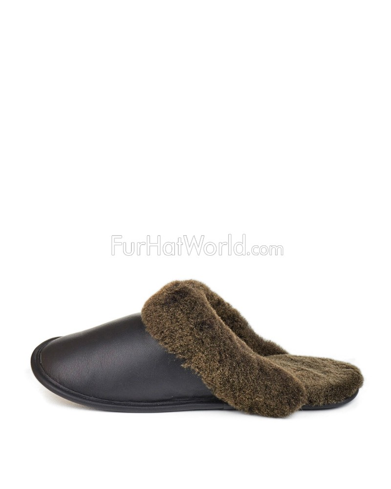 aeaa63f3db12e1 Men's Shearling Sheepskin Slip-On Slipper in Black: FurHatWorld.com