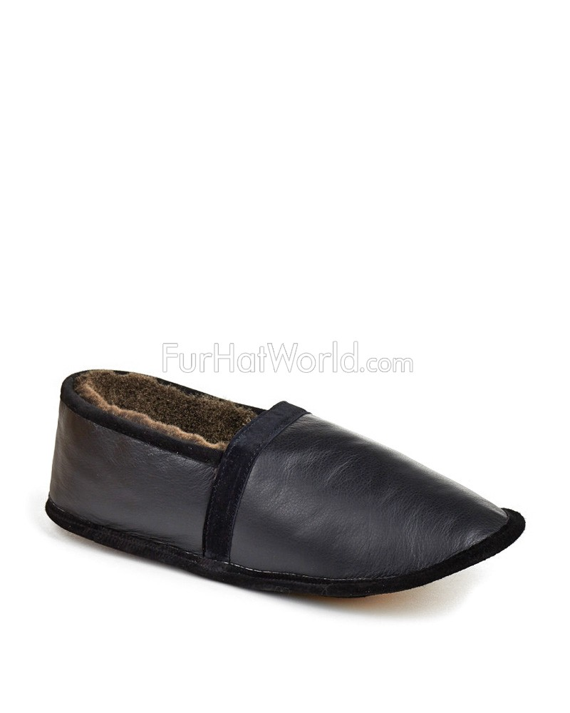 Mens Shearling Sheepskin Slipper in Black
