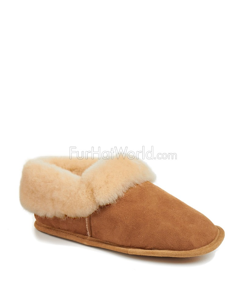 Mens Soft Leather Sole Sheepskin Slippers