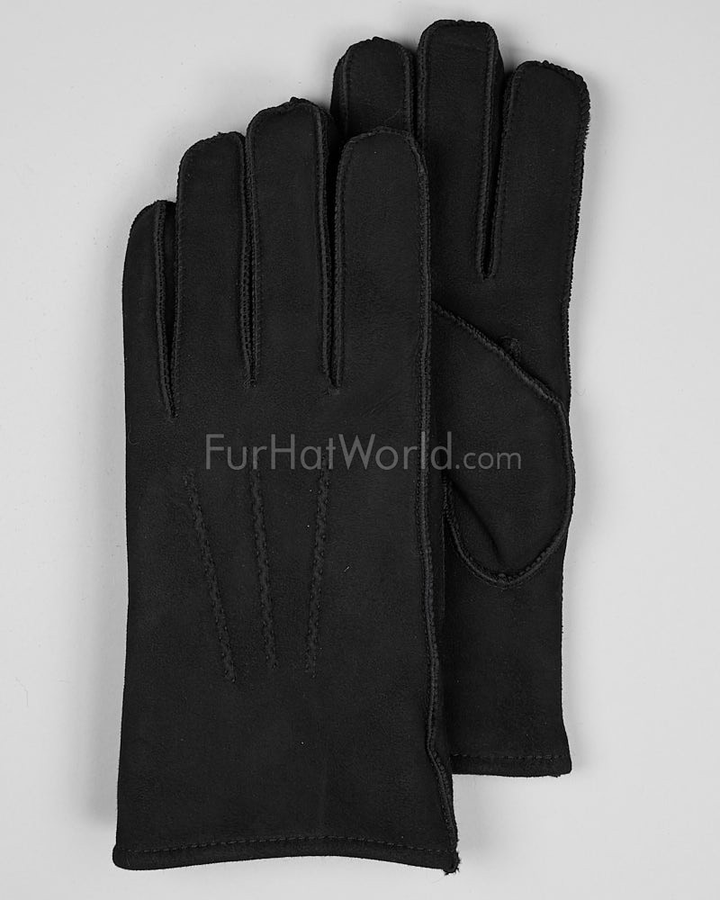 Mens Suede Shearling Sheepskin Gloves - Black