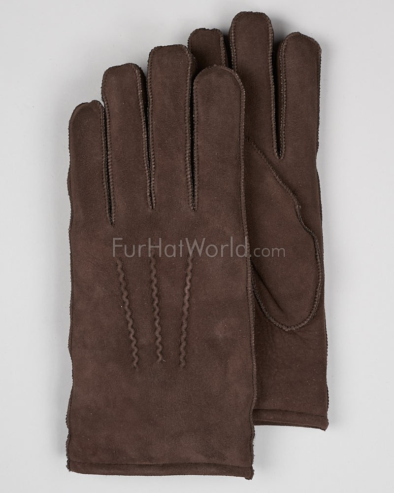 Mens Suede Shearling Sheepskin Gloves - Brown