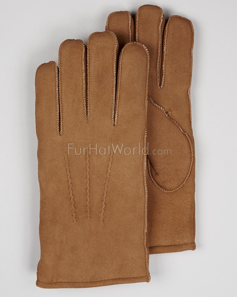 Mens Suede Shearling Sheepskin Gloves - Tan