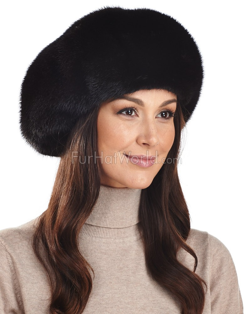 Mink Beret Hat in Black
