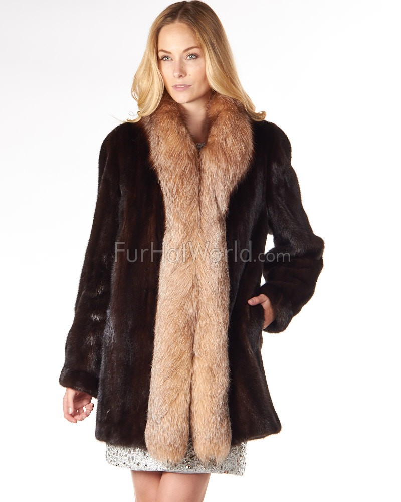 The Caitlin Mahogany Mink Coat with Fox Tuxedo Collar