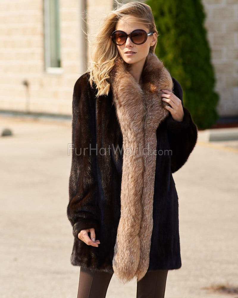 The Caitlin Mahogany Mink Coat with Fox Tuxedo Collar: FurHatWorld.com