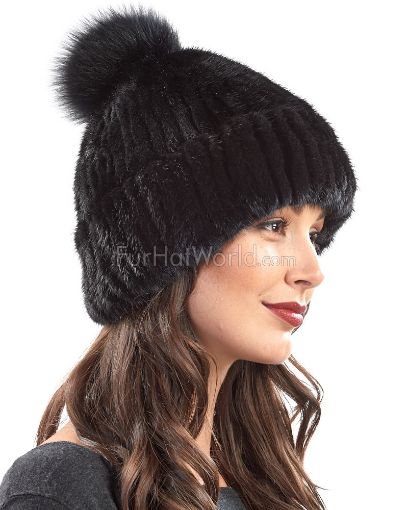Mink Cuffed Beanie Hat With Fox Pom Pom in Black