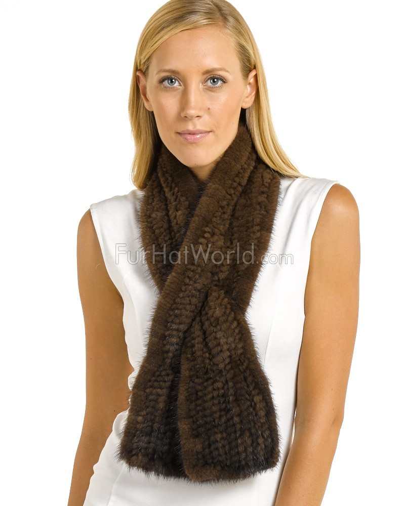 Pamela Knit Mink Bell Bottom Pull Through Scarf in Mahogany