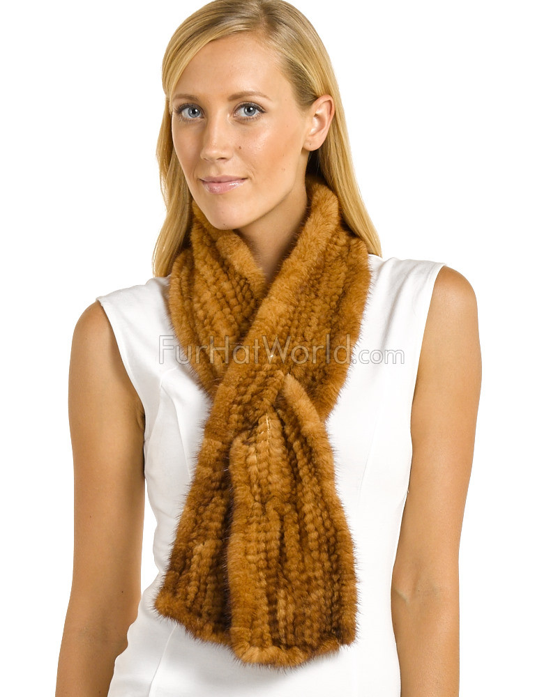 Pamela Knit Mink Bell Bottom Pull Through Scarf in Whiskey