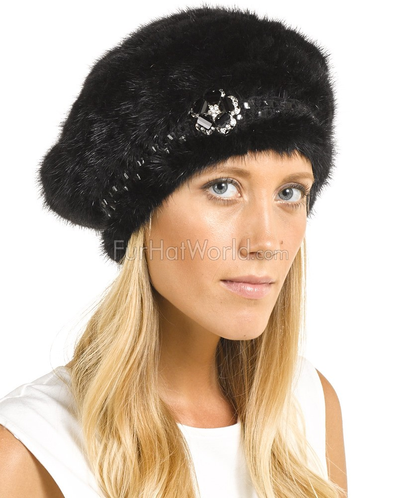 The Nadine Knit Mink Beret in Black with Brooch