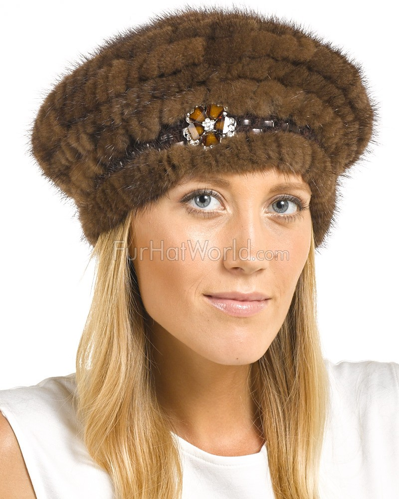 The Nadine Knit Mink Beret in Mahogany with Brooch