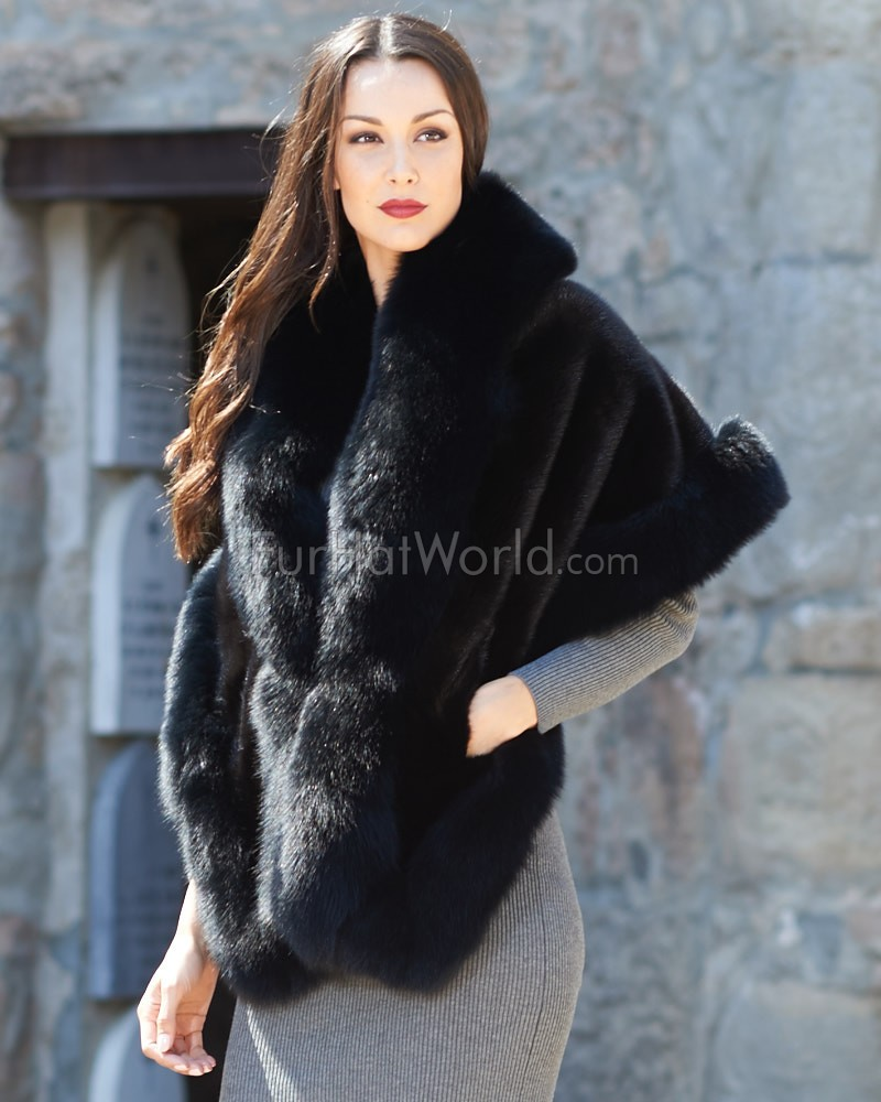 Mink Fur Cape with Fox Fur Trim - Black