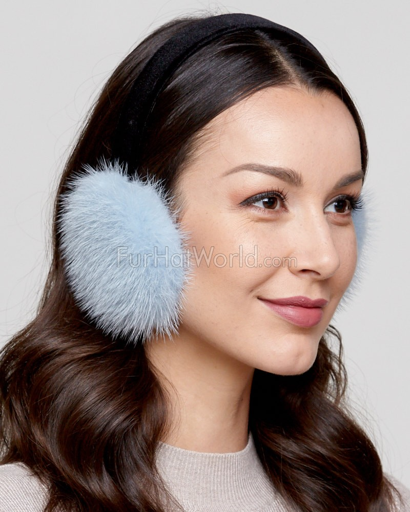 Mink Fur Earmuffs with Velvet Band in Powder Blue