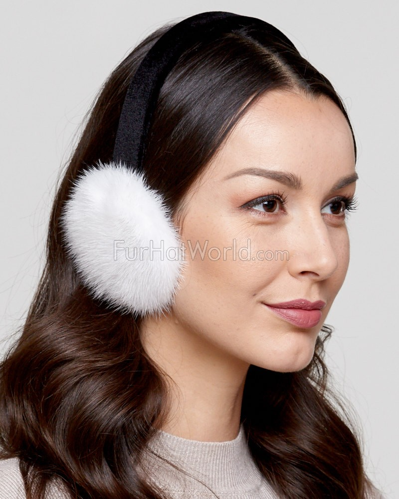 Mink Fur Earmuffs with Velvet Band in White