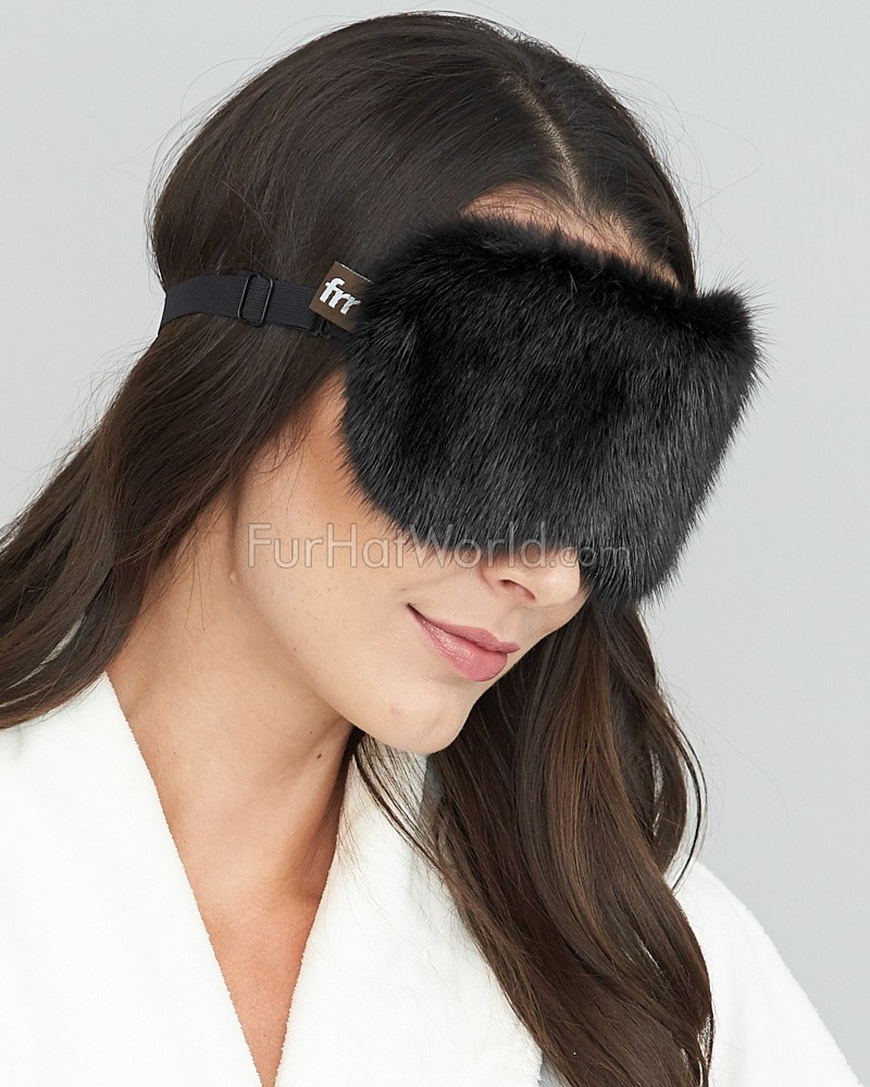 Mink Fur Eye Mask in Black