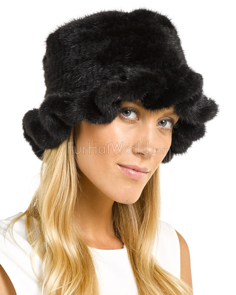 Mink Fur Floppy Hat - Black