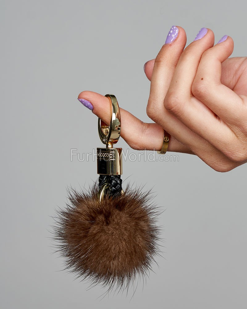 Mink Fur Key Ring Pom Pom in Brown