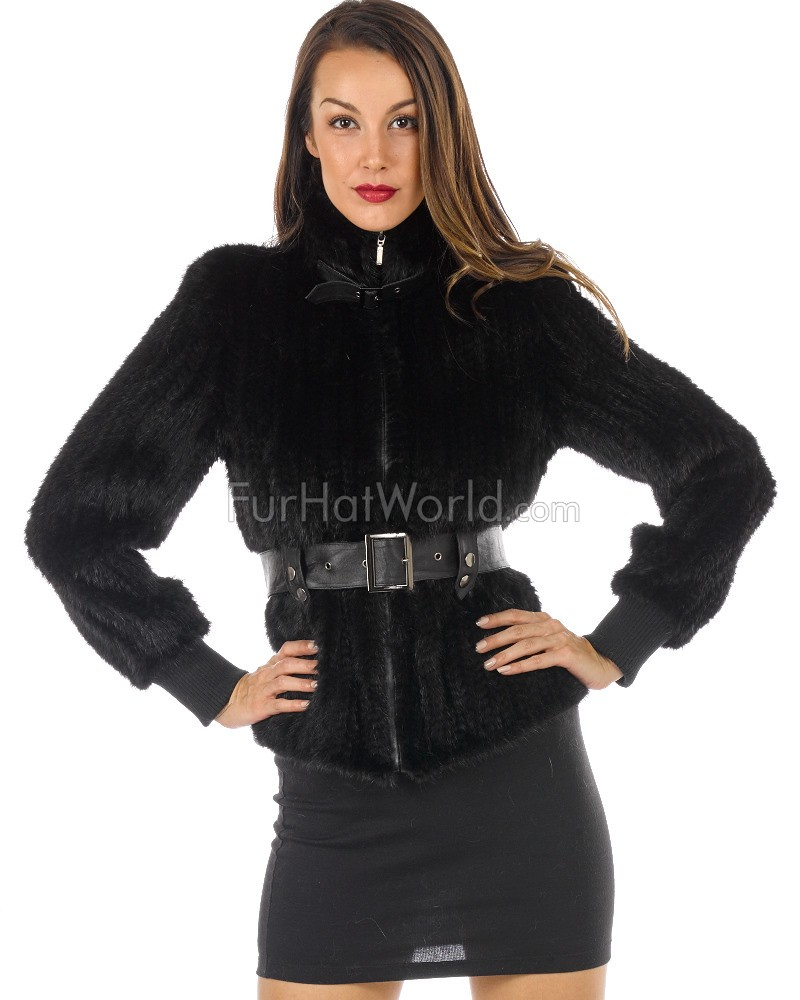 Gabrielle Knitted Black Mink Biker Jacket with Leather Trim