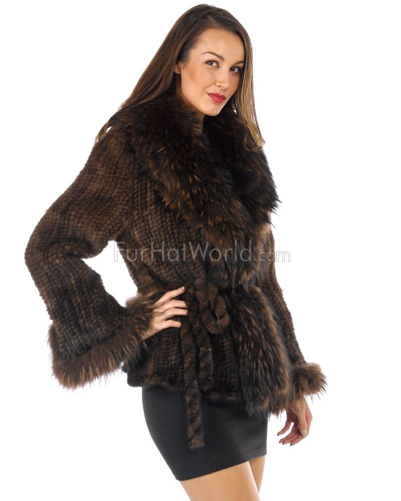 Mink Fur Knitted Jacket with Raccoon Fur Trim - Brown
