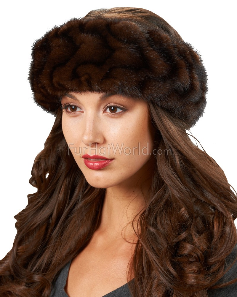Mink Fur Pleated Headband - Mahogany