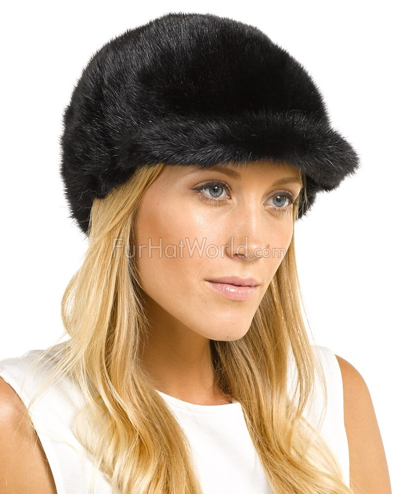 Mink Fur Riding Hat - Black