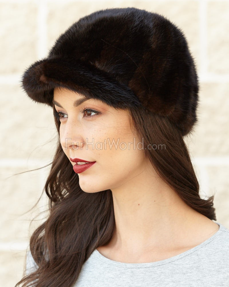 Mink Fur Riding Hat - Mahogany
