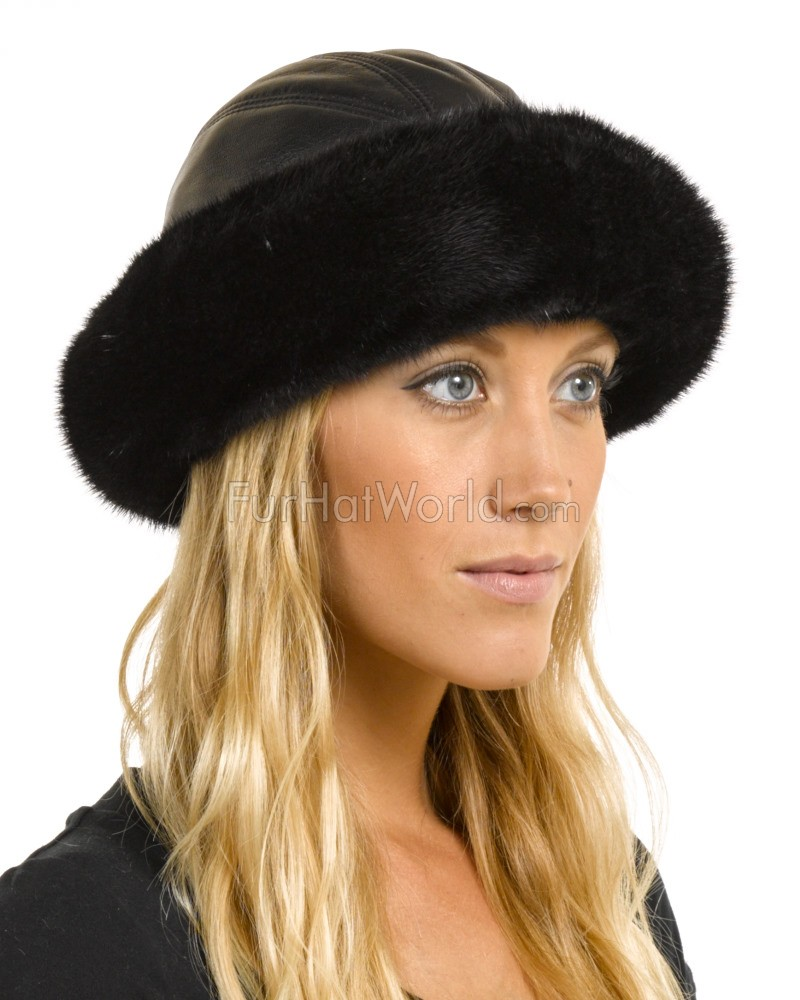 Mink Fur Roller Hat with Leather Top - Black