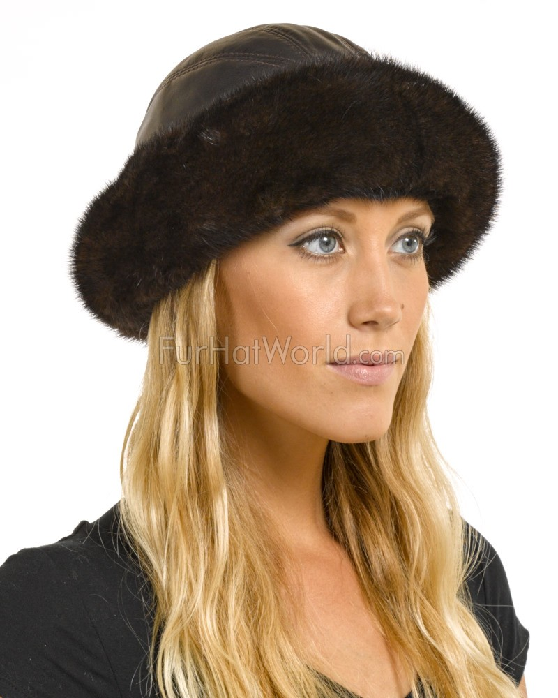 Mink Fur Roller Hat with Leather Top - Brown