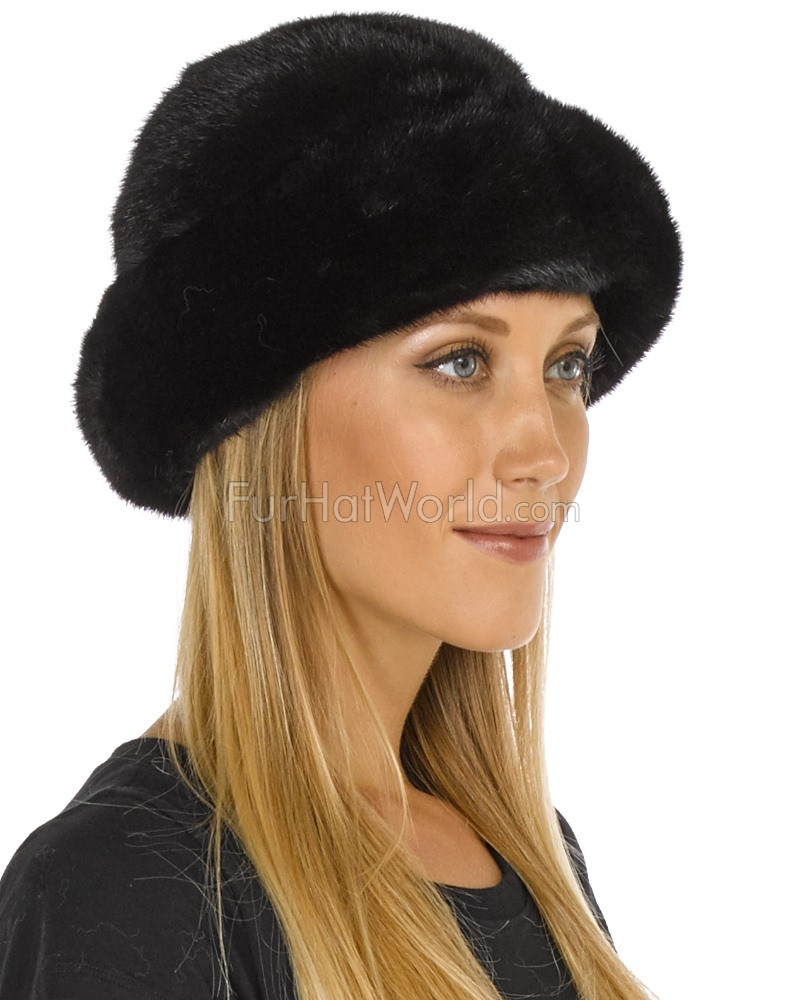 Mink Fur Roller Hat with Mink Top - Black
