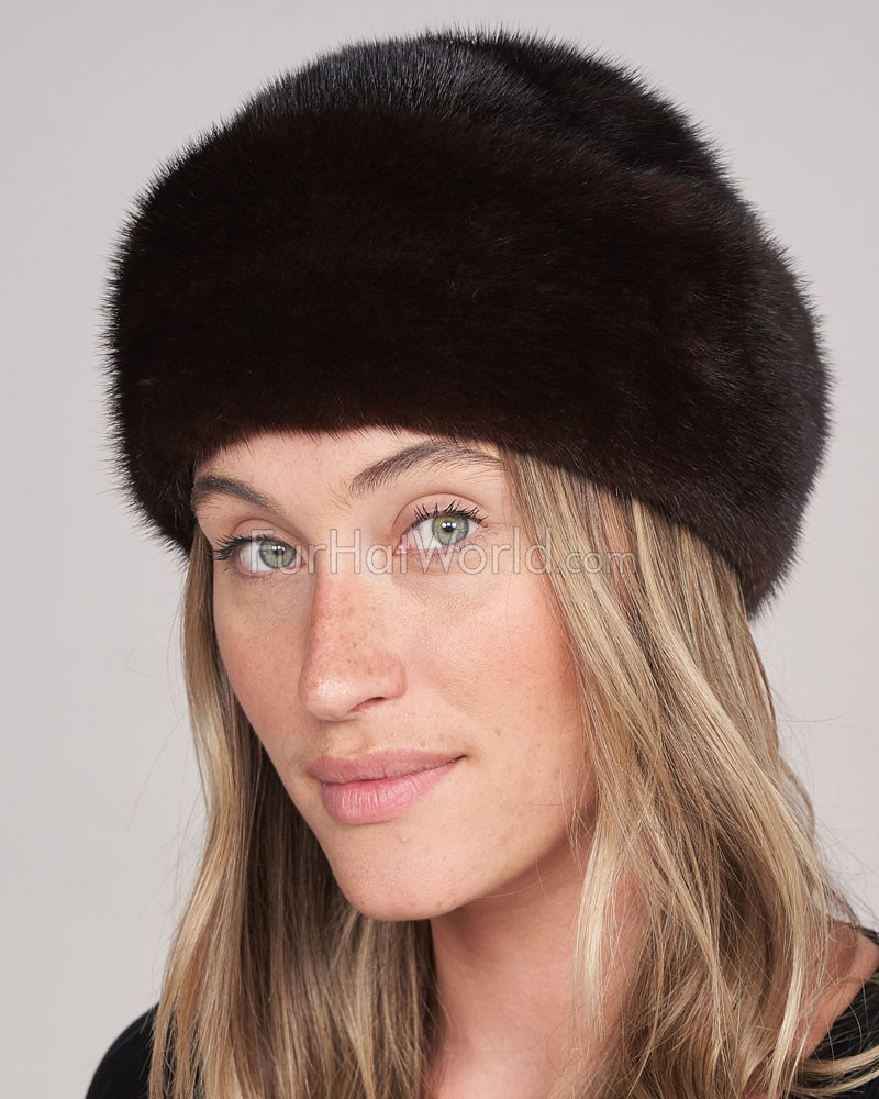 Sabrina Mink Fur Roller Hat with Mink Top in Mahogany