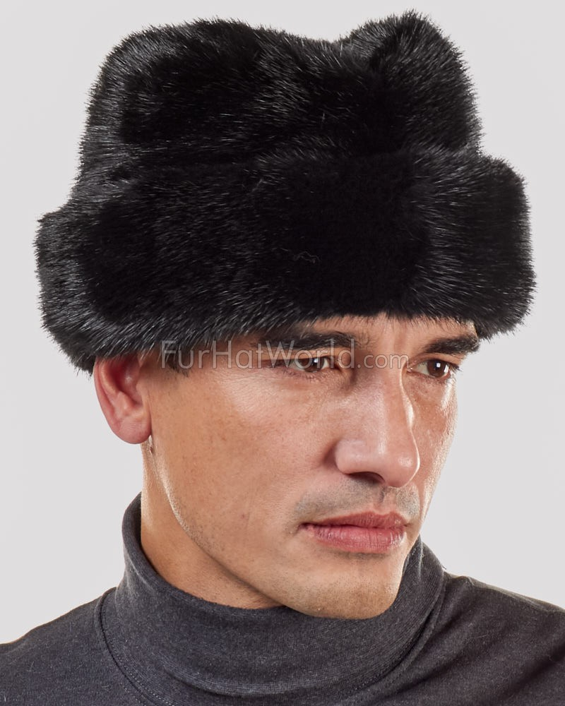 Mink Fur Russian Cossack Hat - Black
