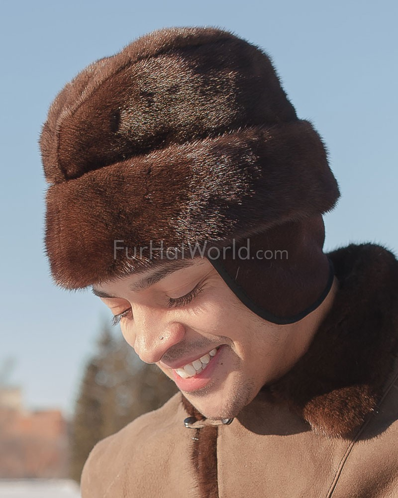 Mink Fur Russian Cossack Hat - Mahogany