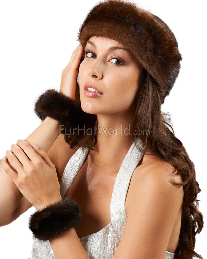 Brown Mink Fur Slap on Cuffs / Bracelets - Pair