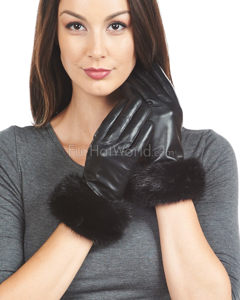 Black leather gloves female - Black Mink Trim Wool Lined Leather Gloves