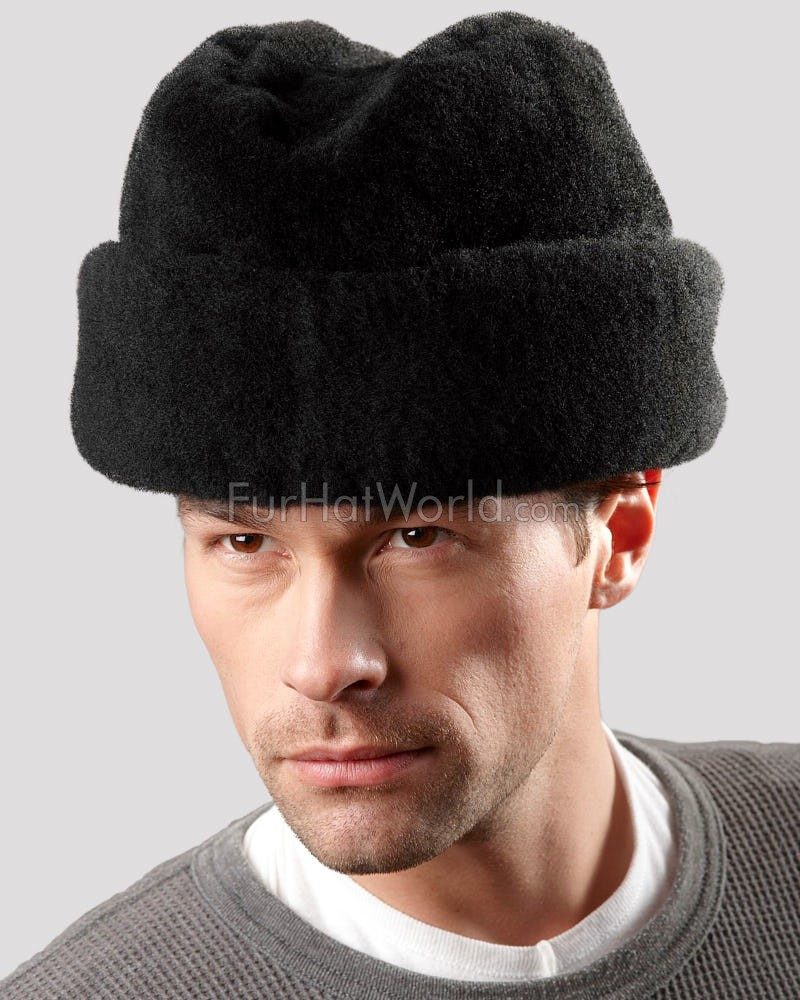 Black Mouton Sheepskin Russian Cossack Hat