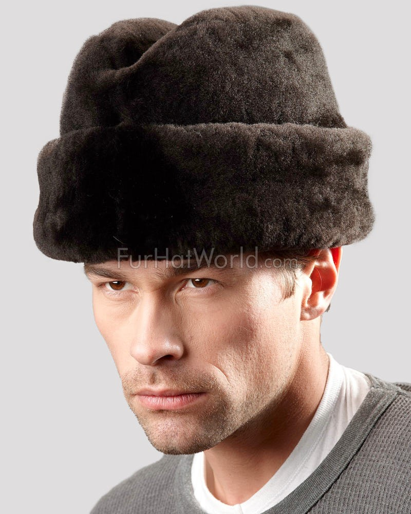 Mouton Sheepskin Russian Cossack Hat - Brown