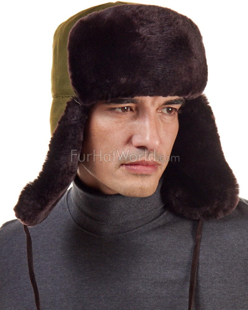 Brown Mouton Sheepskin Russian Ushanka Hat