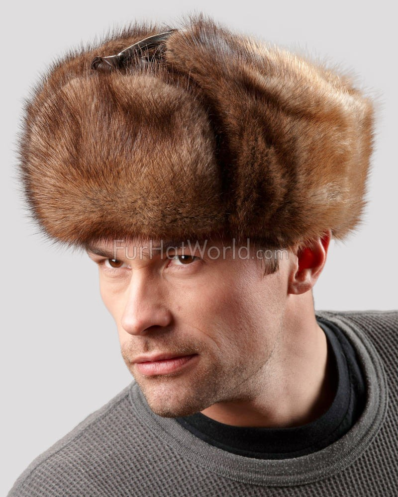 Muskrat Full Fur Russian Hat