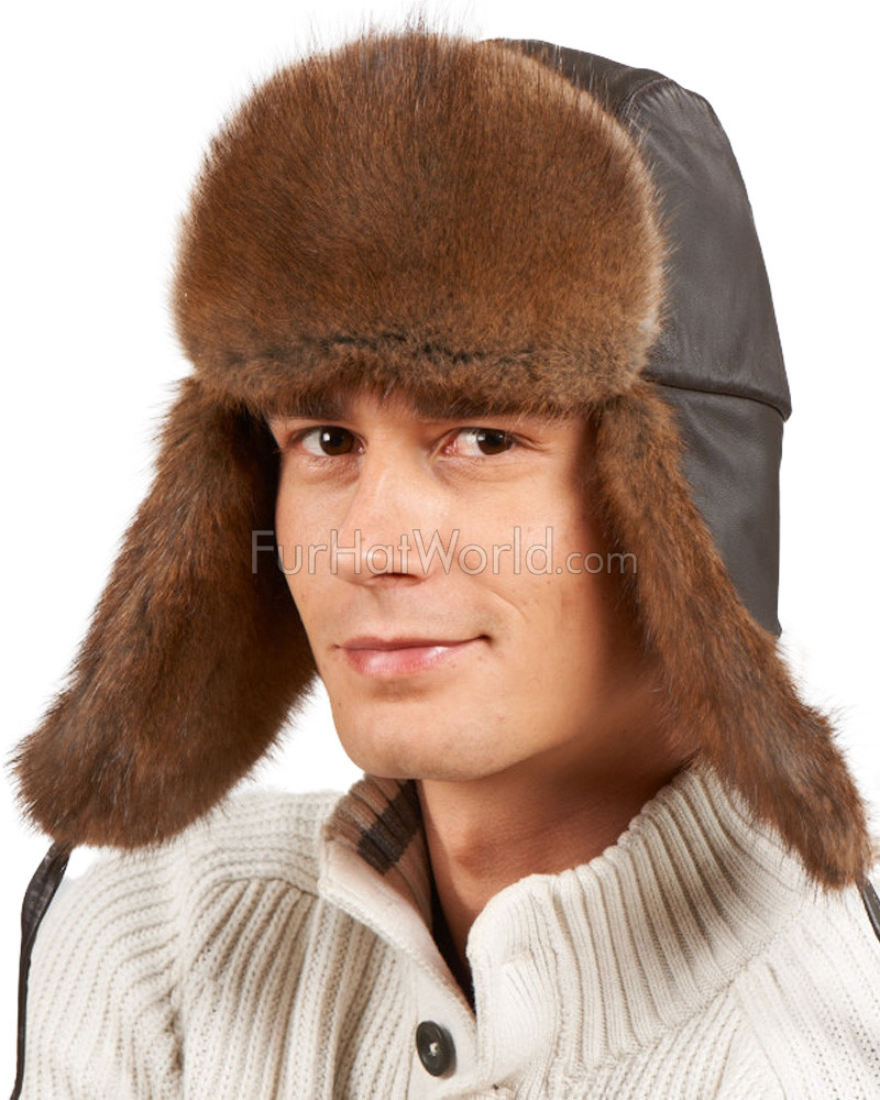 Muskrat Fur & Leather Aviator Hat