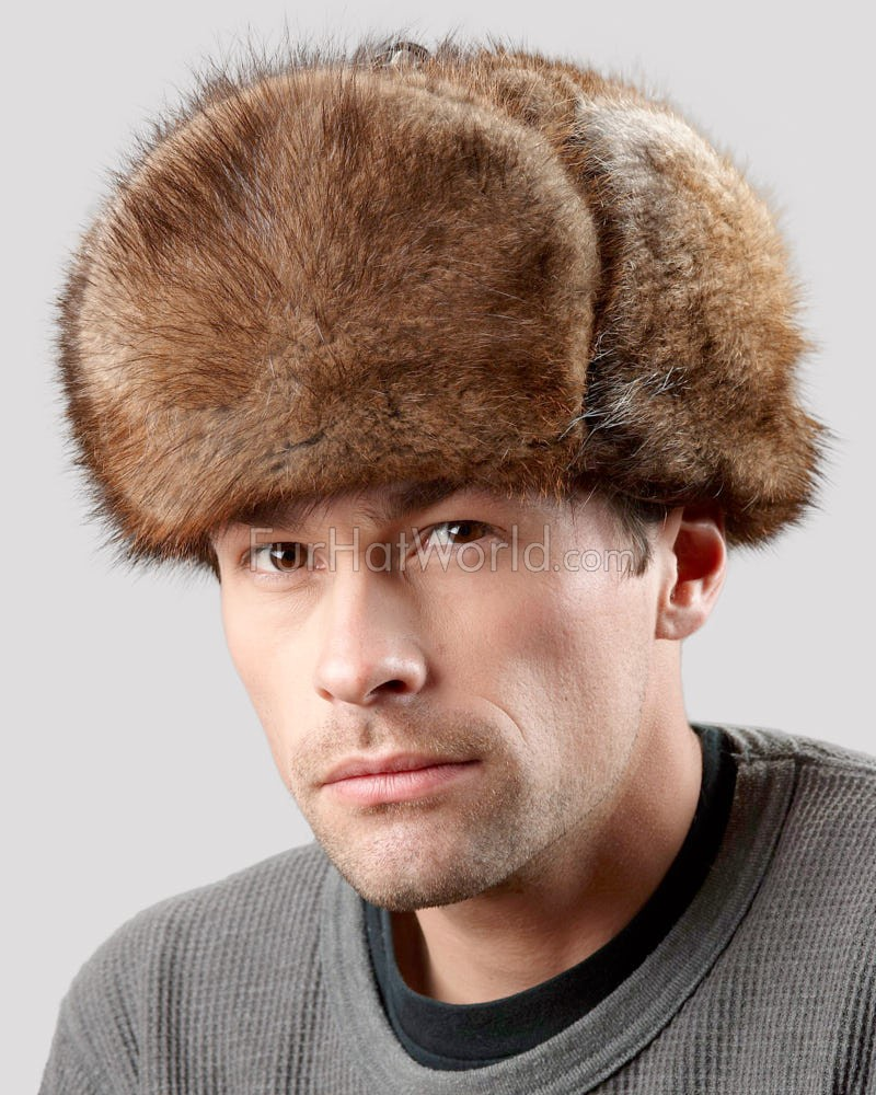 6418543393a Muskrat Fur Top Trapper Jockey Hat for Men  FurHatWorld.com