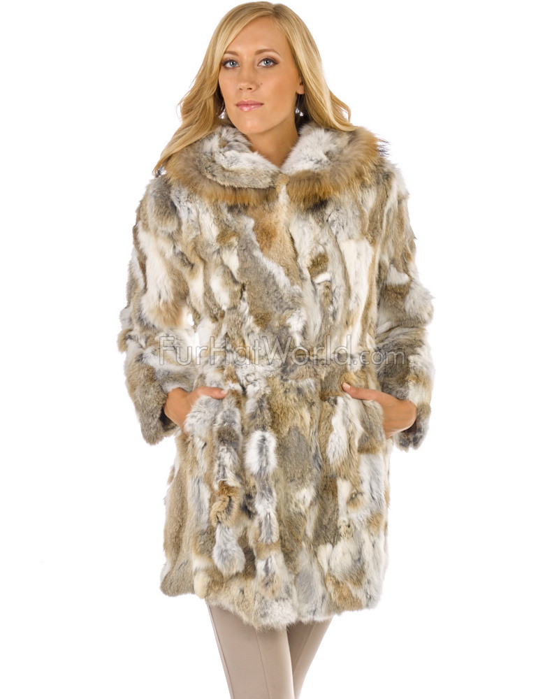 Quinn Rabbit Fur Car Coat with Hood in Natural Brown