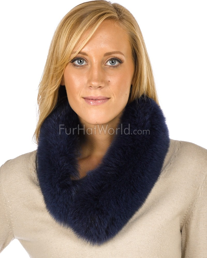 Navy Blue Fox Fur Collar