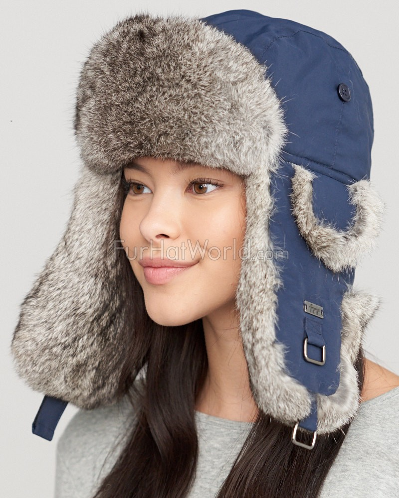 Navy Taslon Trapper with Natural Grey Rabbit Fur