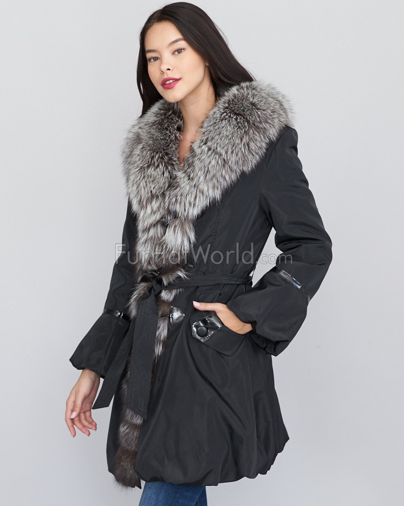 Adriana Fur Lined Taffeta Coat with Fox Fur Trim