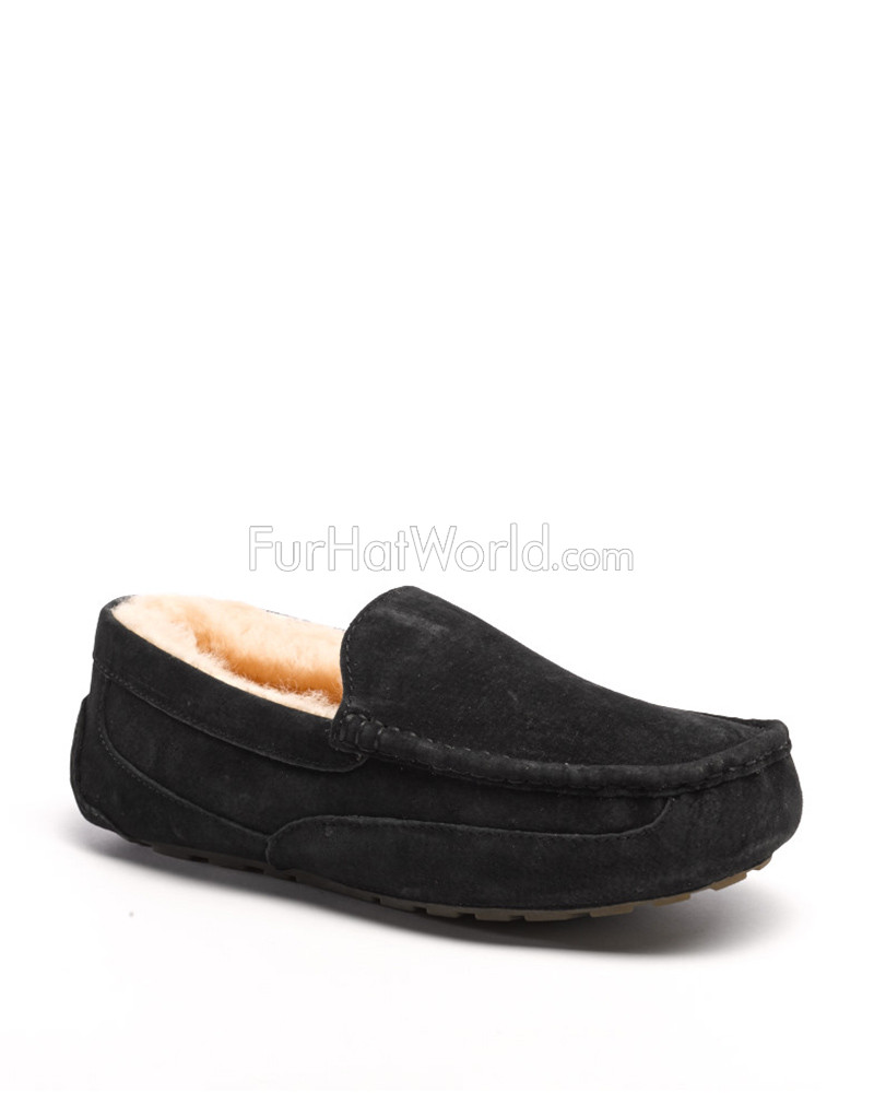 Parker Men's Shearling Sheepskin Slipper in Black