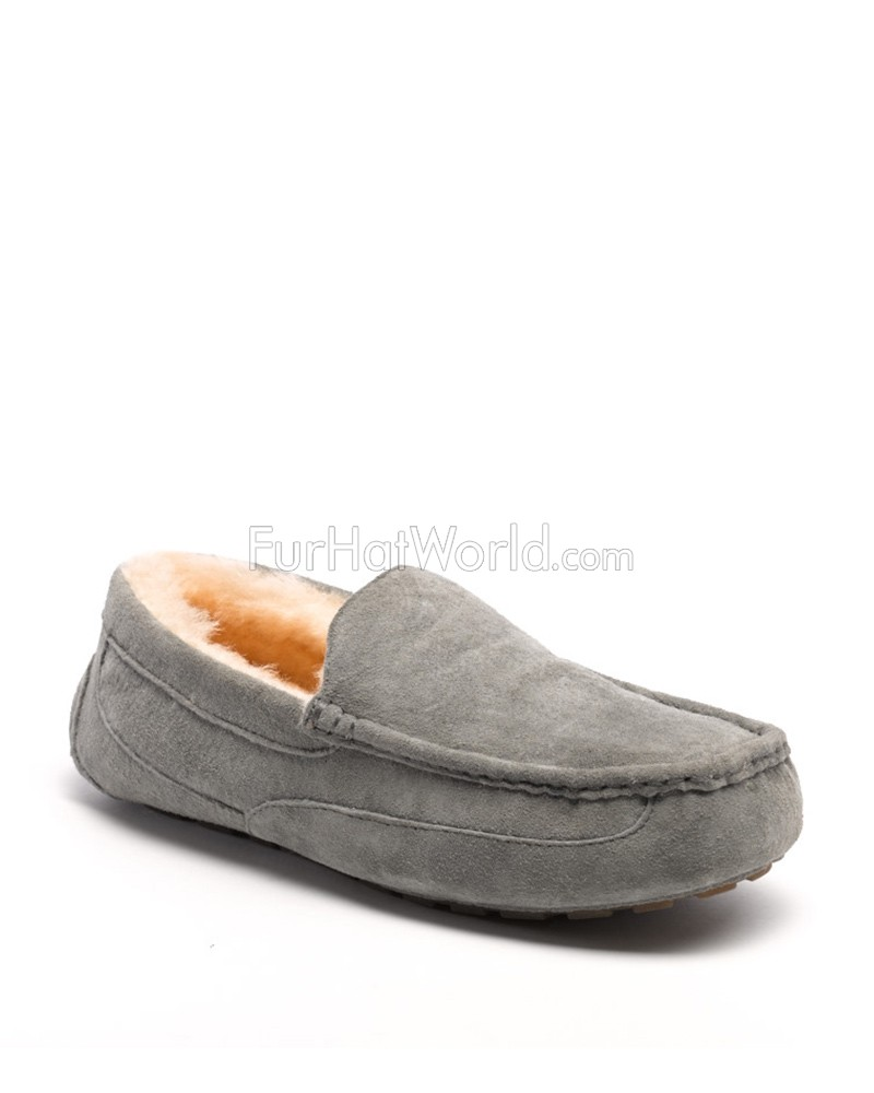 Parker Men's Shearling Sheepskin Slipper in Grey