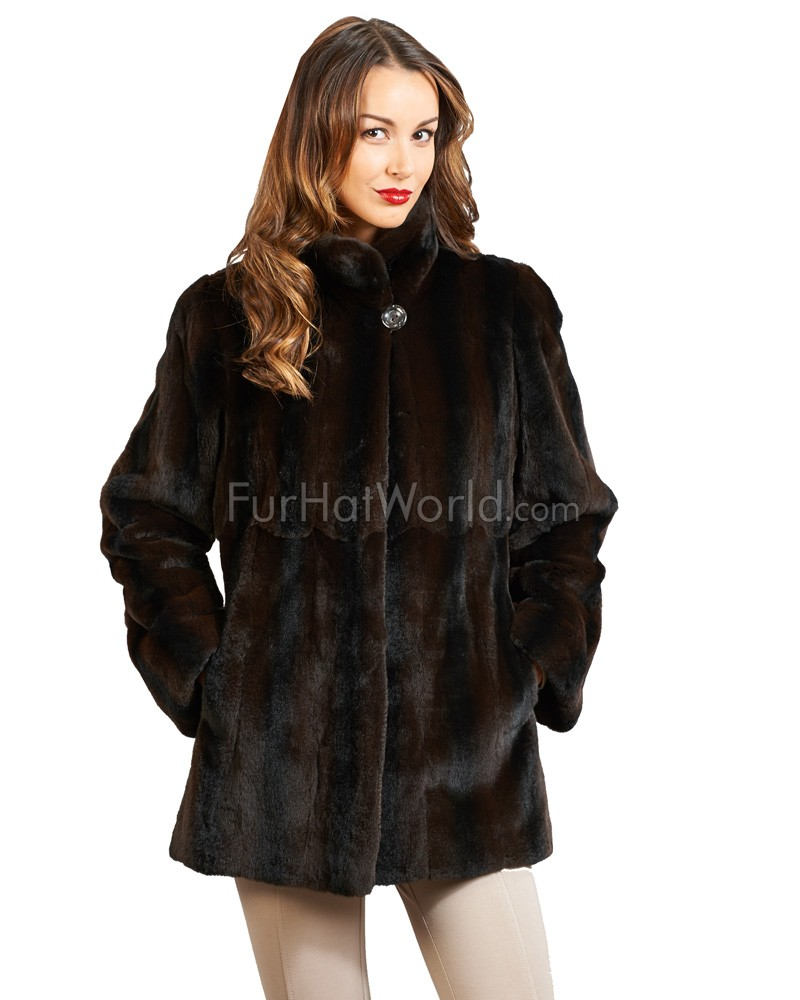 The Evelyn Reversible Plucked & Sheared Mink Jacket: FurHatWorld.com