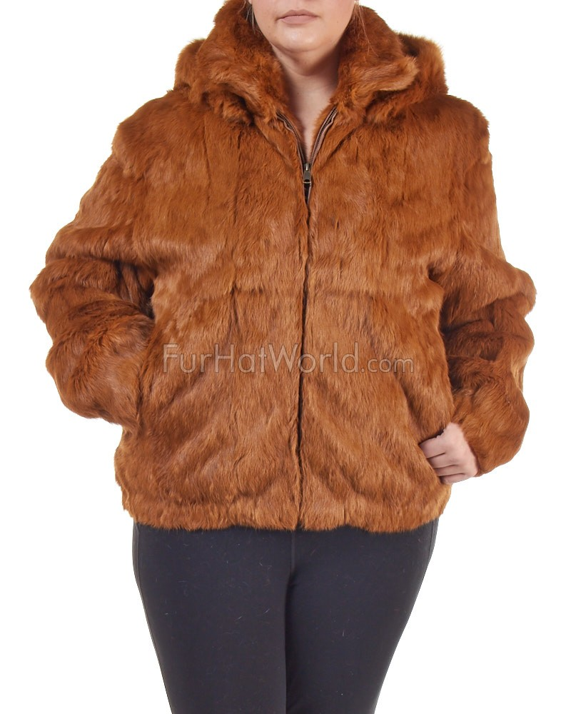 Plus Size Frances Whiskey Rabbit Fur Bomber Jacket with Hood