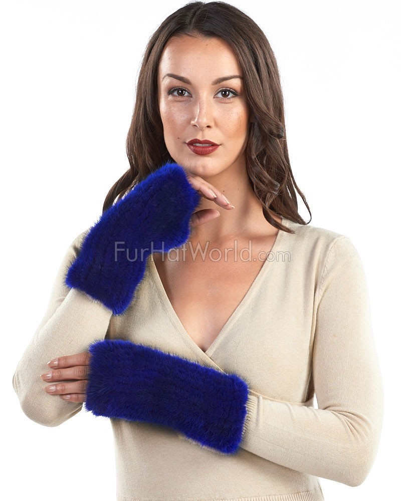 Presley Knit Mink Fingerless Gloves in Navy Blue