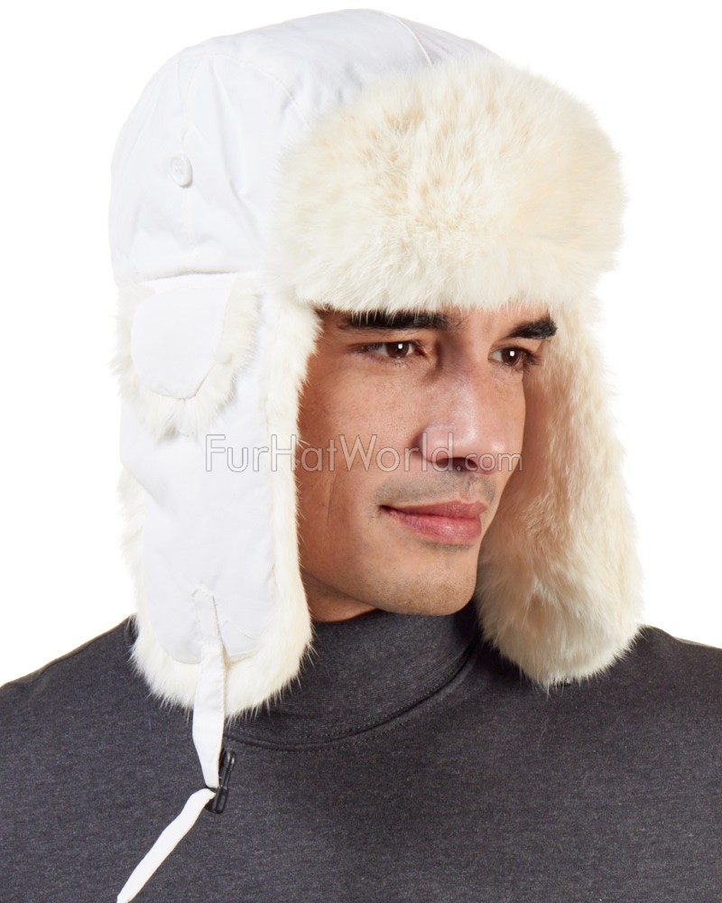 Rabbit Aviator Hat - White